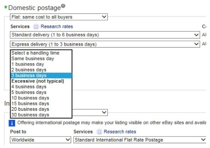 eBay Handling Time