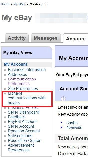 eBay Manage Communication