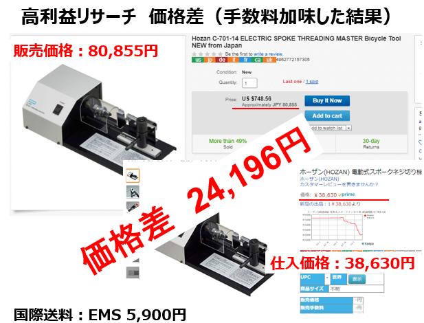 【eBay輸出で高利益時短リサーチ】リサーチ時間わずか1分 価格差 24,196円