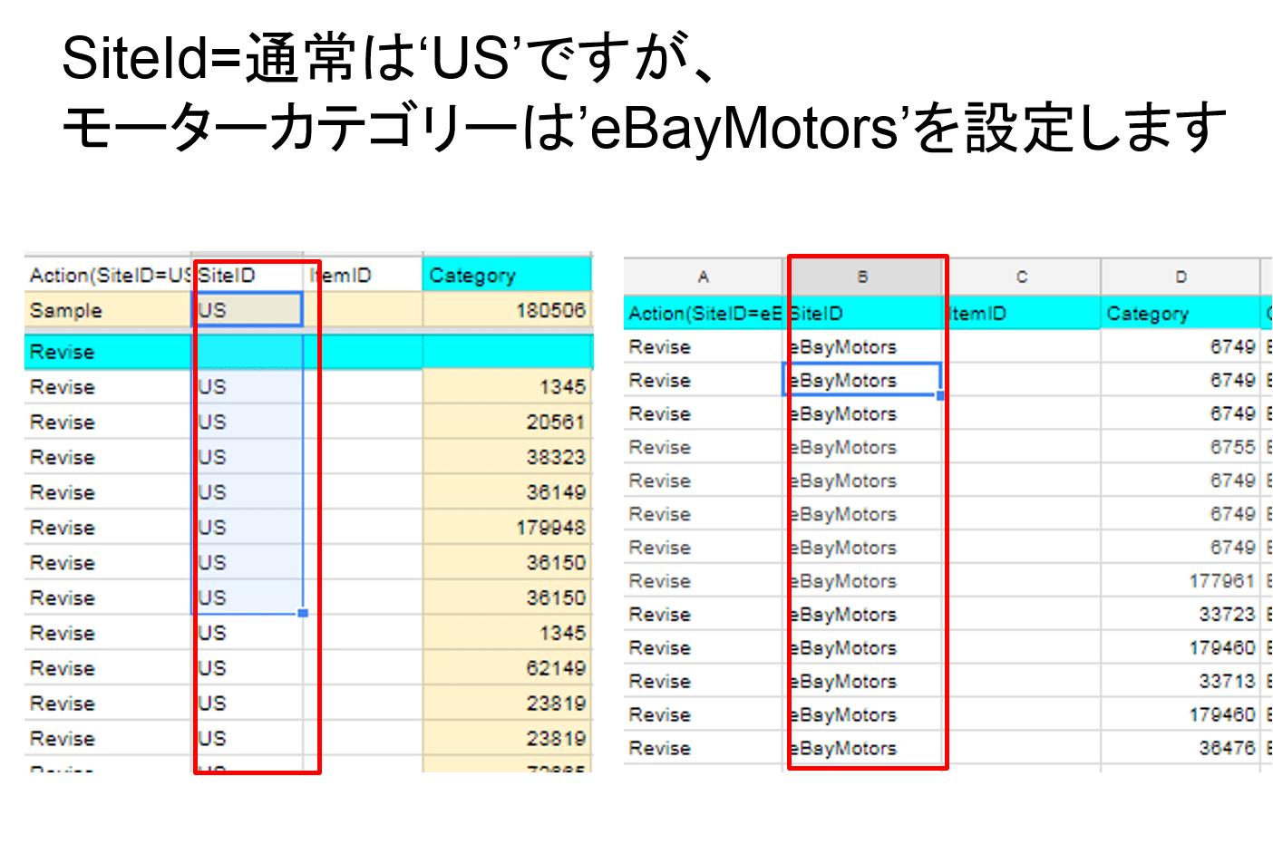 eBay サイトID