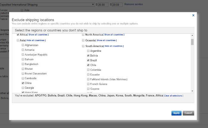 eBay発送除外国