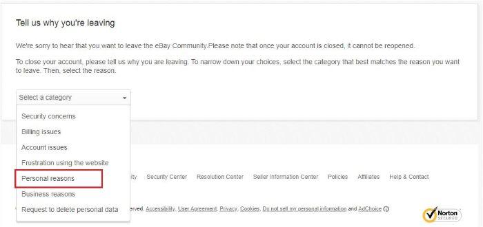 eBayアカウントの閉鎖