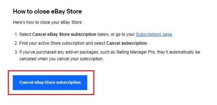 eBayストアの閉鎖