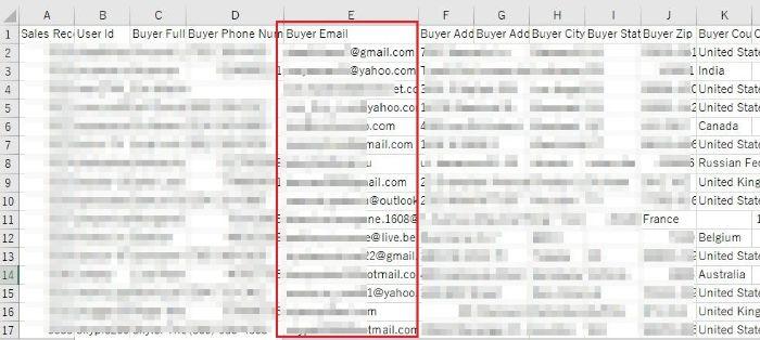 バイヤーのメールアドレス