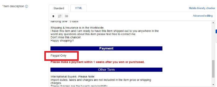 商品説明のPaypal Onlyを消したい